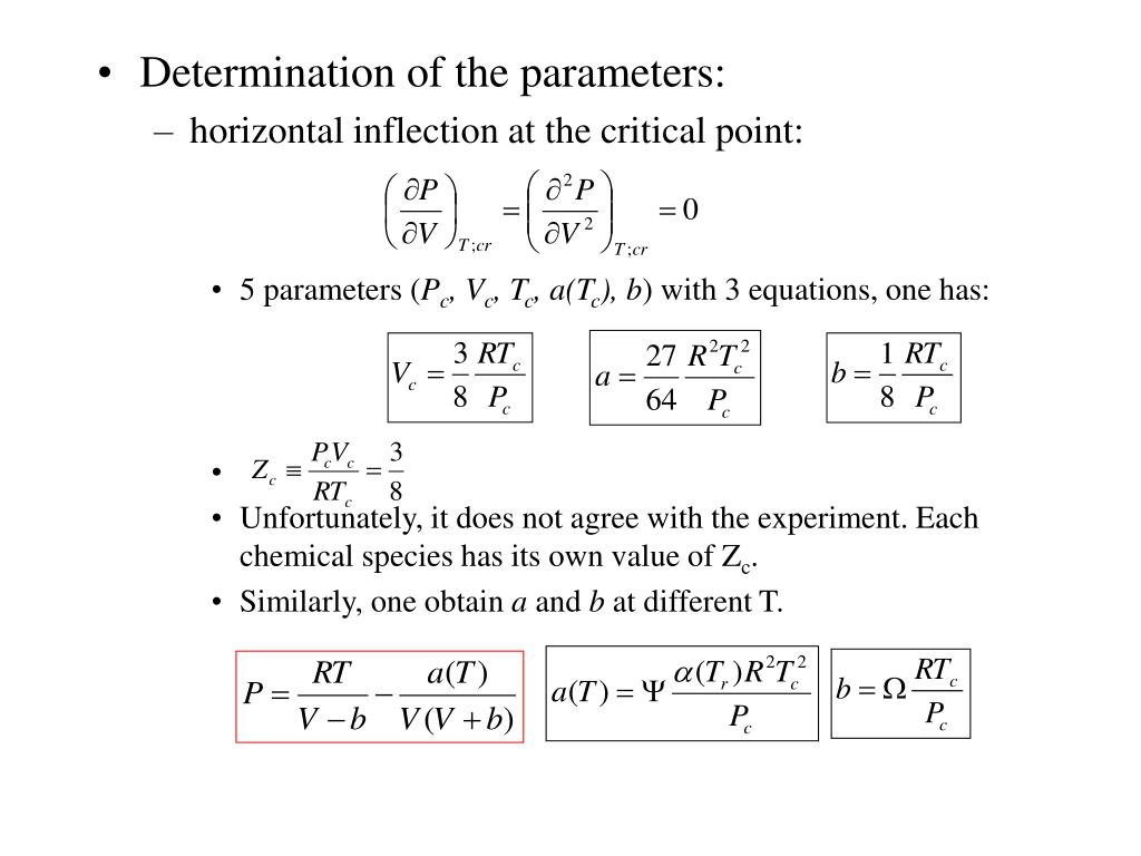 Determination of the parameters: