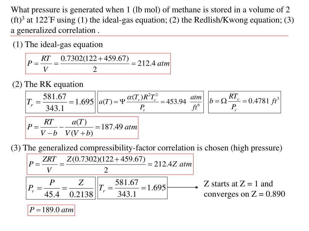 What pressure is generated when 1 (lb mol) of methane is stored in a volume of 2 (ft)