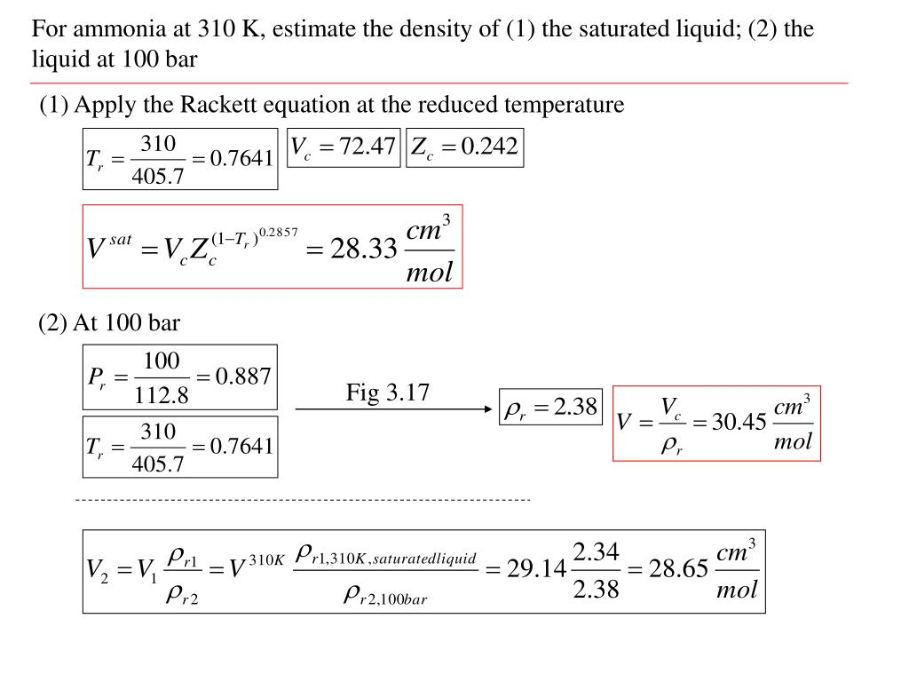 For ammonia at 310 K, estimate the density of (1) the saturated liquid; (2) the liquid at 100 bar