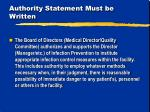 authority statement must be written