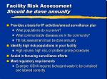 facility risk assessment should be done annually
