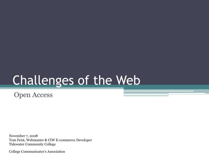 challenges of the web n.