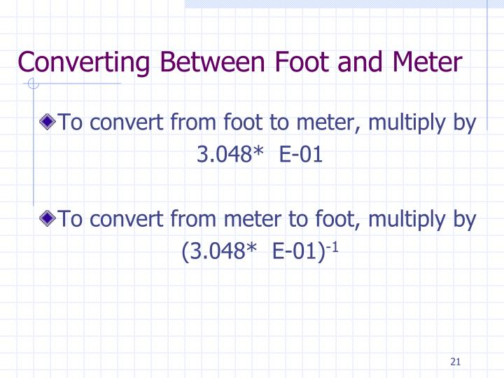 Converting Between Foot and Meter