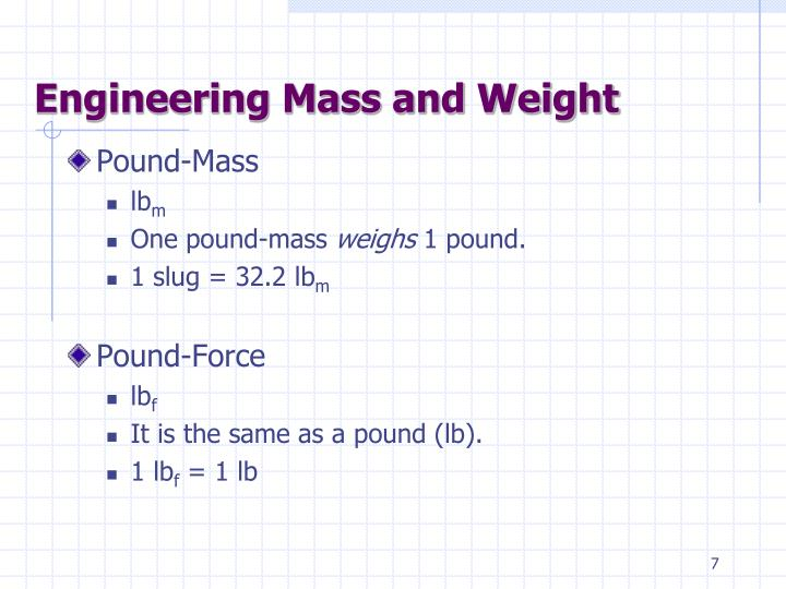 Engineering Mass and Weight