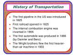 history of transportation