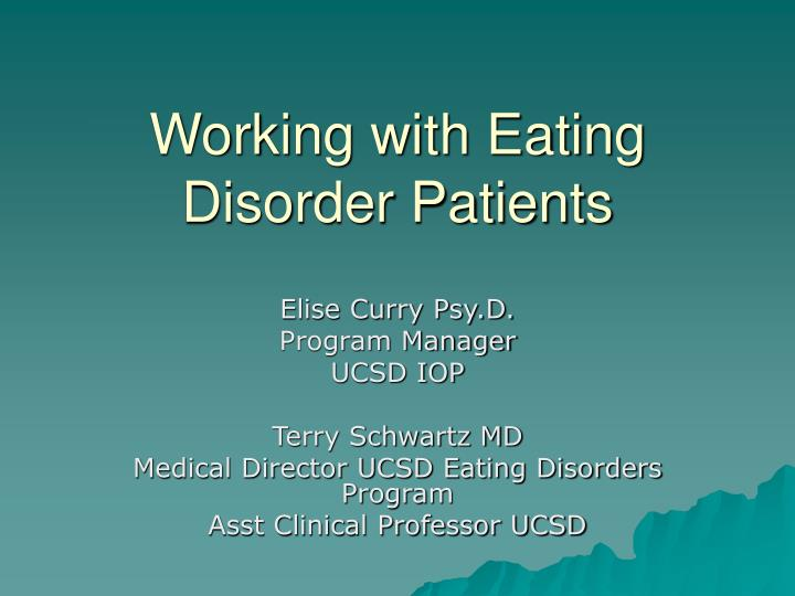 working with eating disorder patients n.