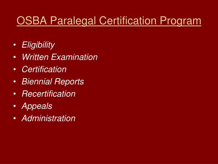 OSBA Paralegal Certification Program