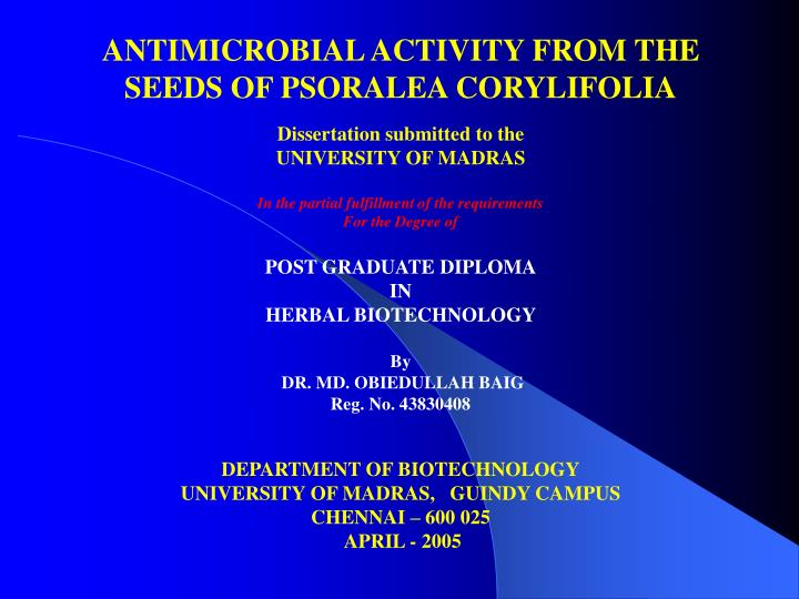 Phd thesis antimicrobial activity