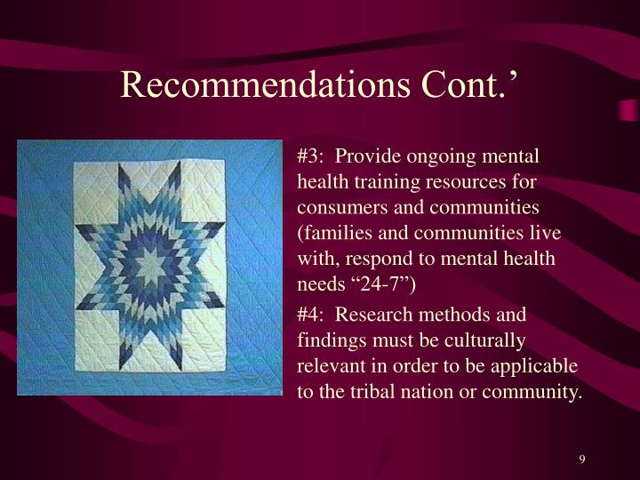 Recommendations Cont.'