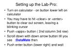 setting up the lab pro