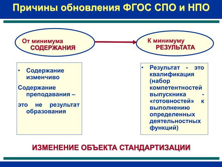 Причины обновления ФГОС СПО и НПО