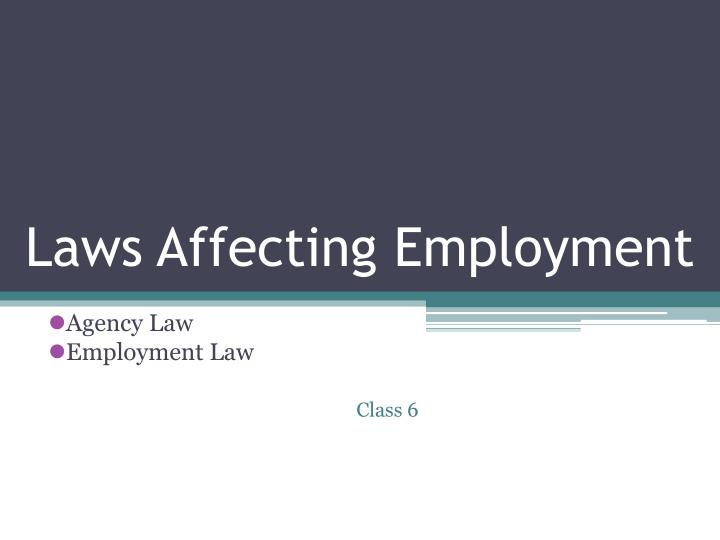 laws affecting employment n.