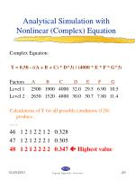 analytical simulation with nonlinear complex equation