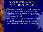 non trans men and non trans women