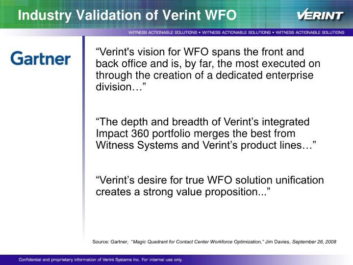 Industry Validation of Verint WFO