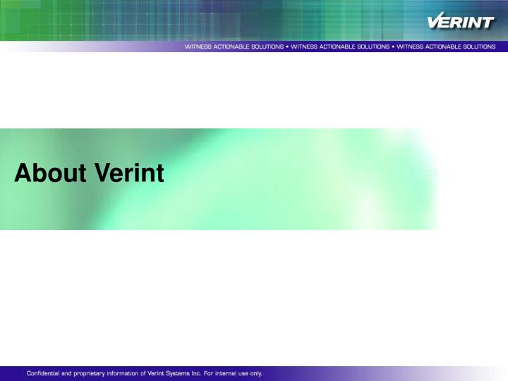 About Verint