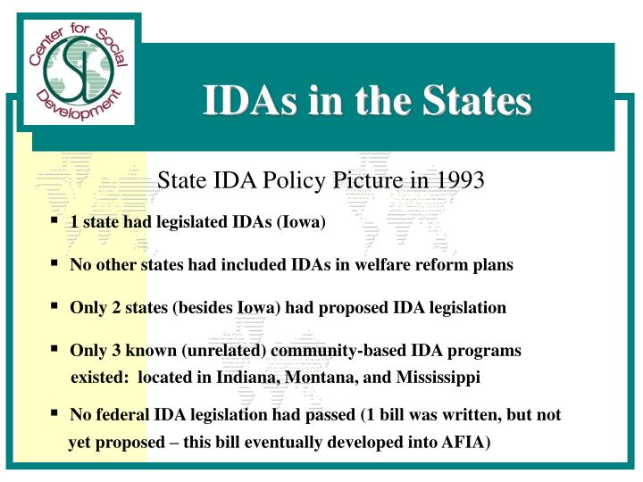 State IDA Policy Picture in 1993