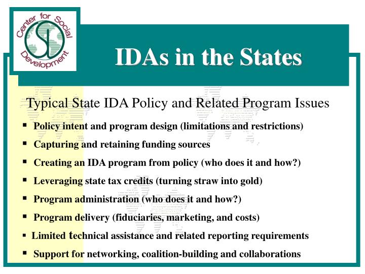 Typical State IDA Policy and Related Program Issues
