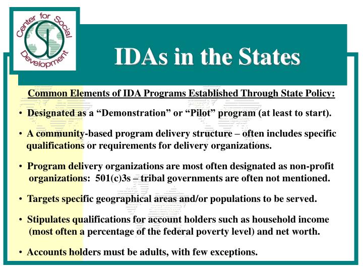 Common Elements of IDA Programs Established Through State Policy: