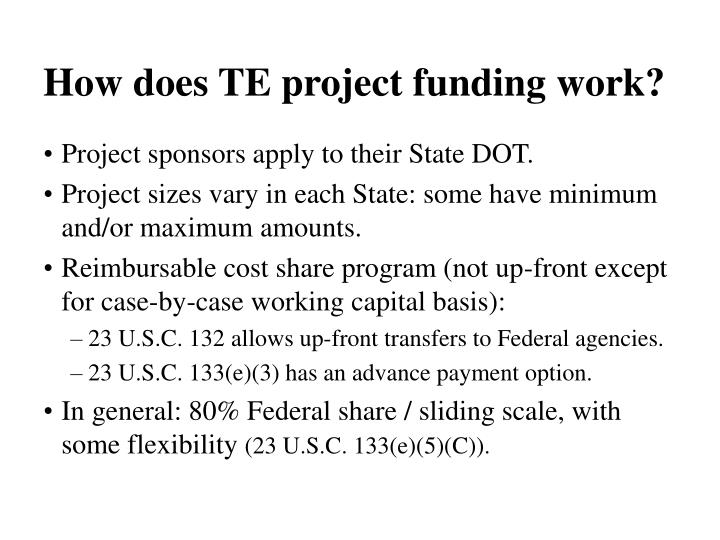 How does TE project funding work?