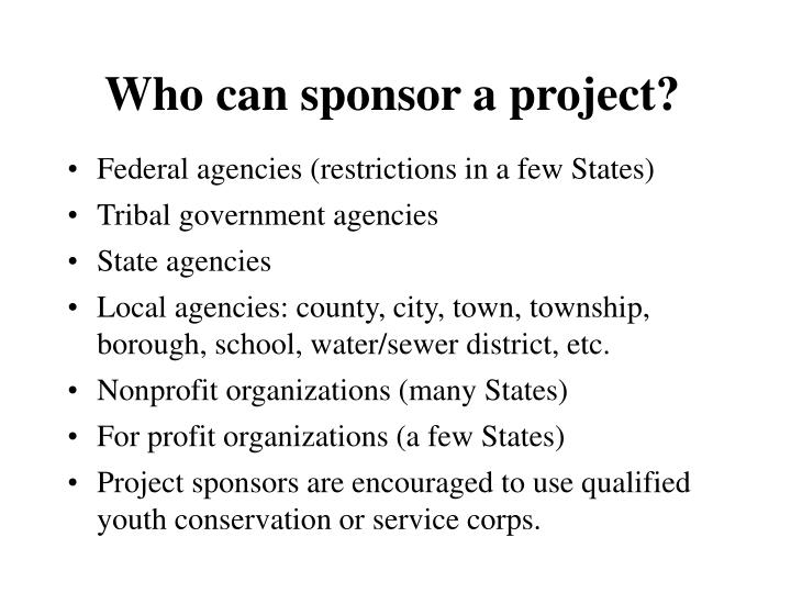 Who can sponsor a project?