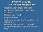 priority groups cdc recommendations