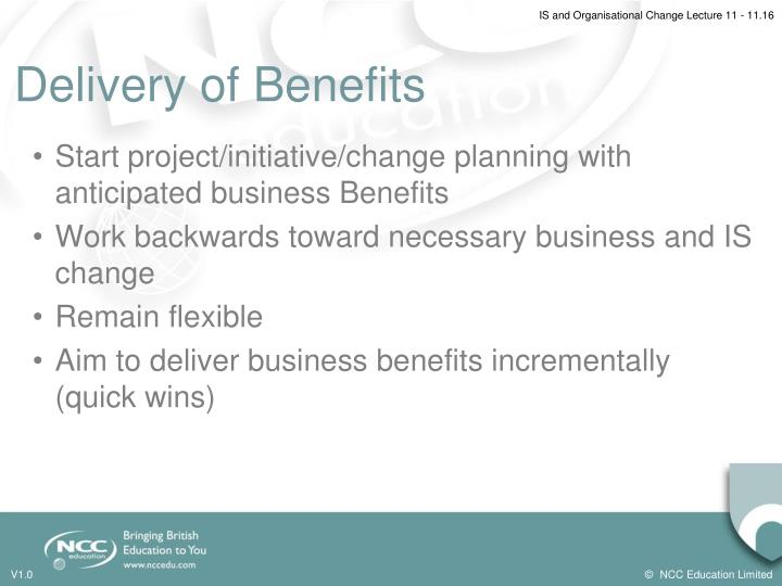 Delivery of Benefits