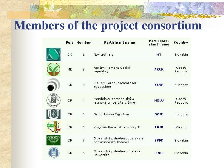 Members of the project consortium