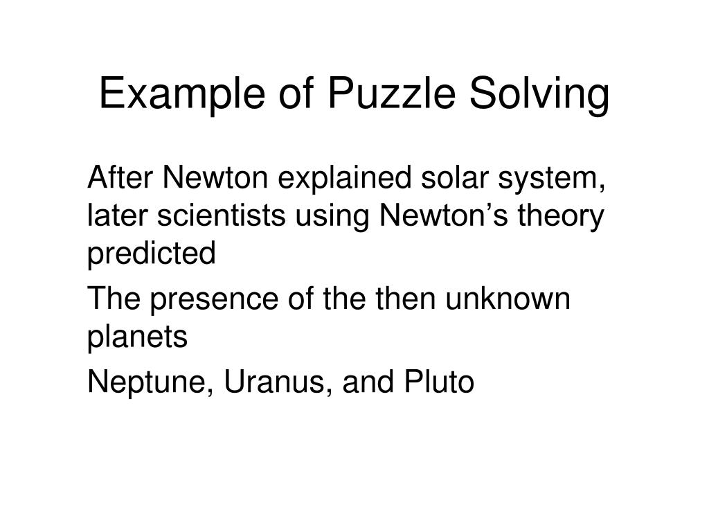 Example of Puzzle Solving