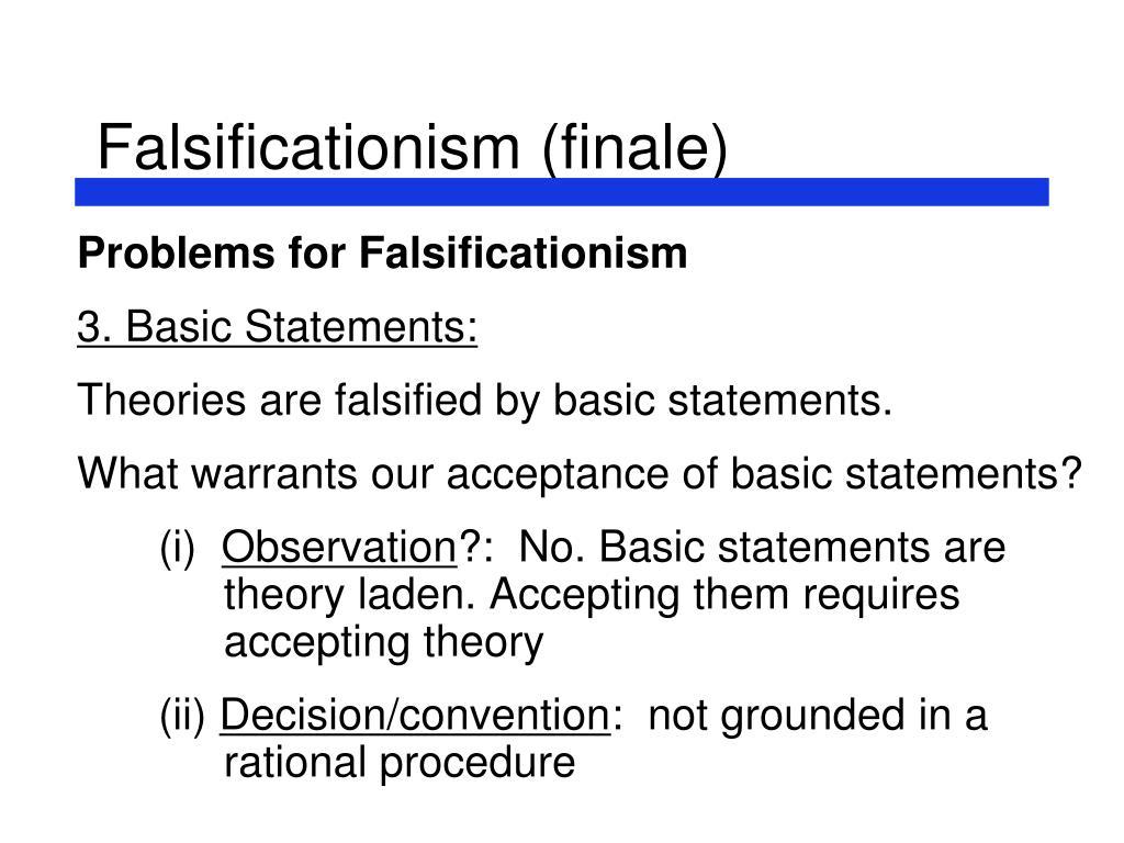 Falsificationism (finale)