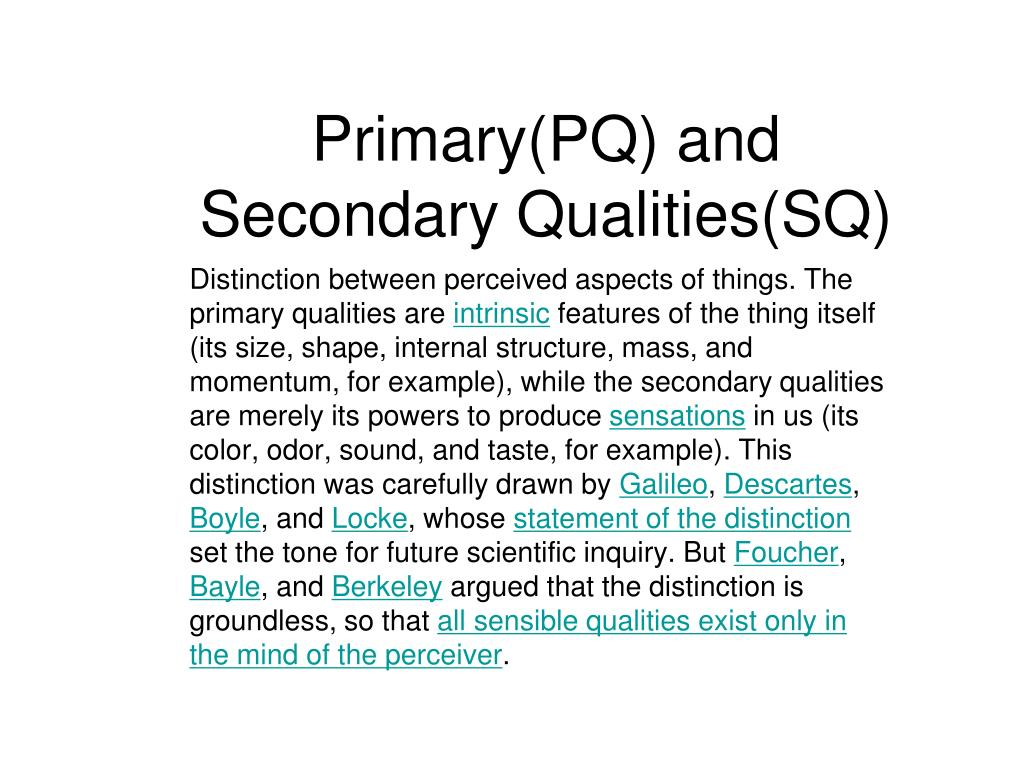 Primary(PQ) and