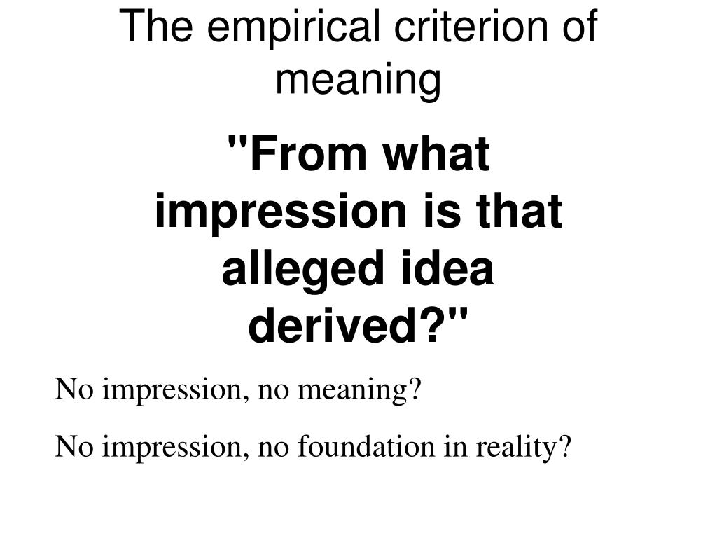 The empirical criterion of meaning