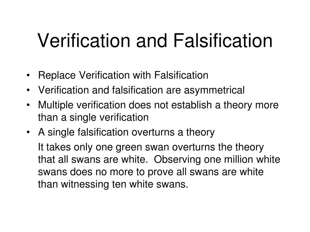 Verification and Falsification