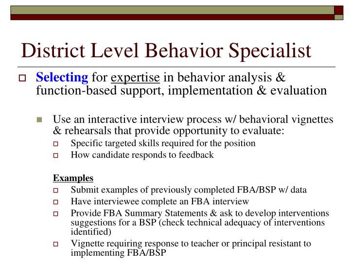 District Level Behavior Specialist