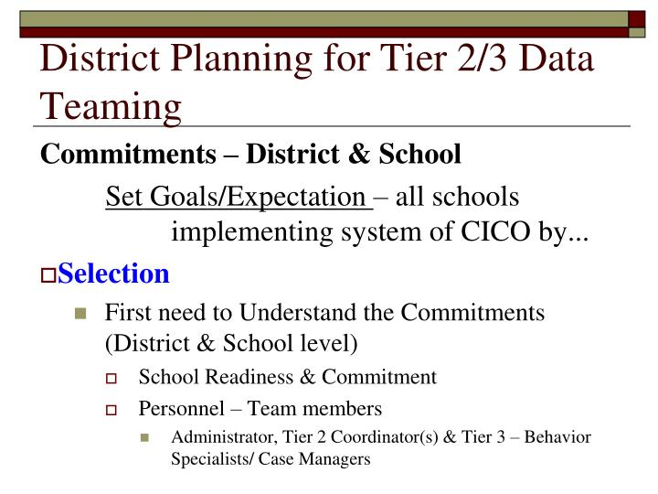 District Planning for Tier 2/3 Data Teaming