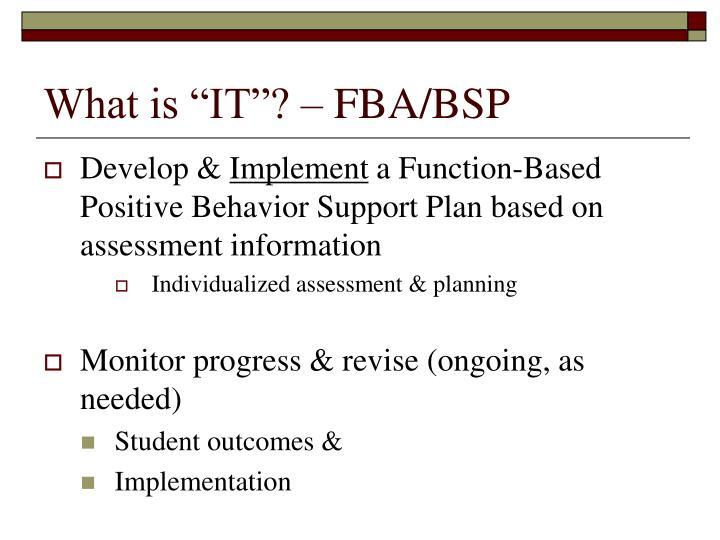 "What is ""IT""? – FBA/BSP"