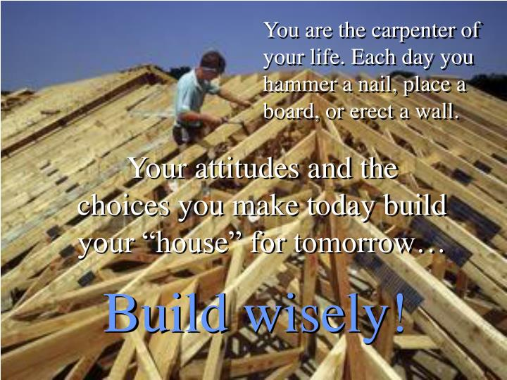 You are the carpenter of your life. Each day you hammer a nail, place a board, or erect a wall.