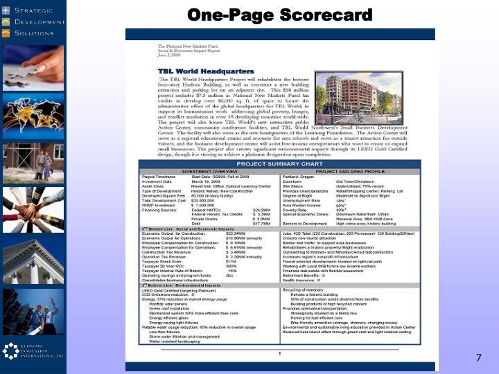 One-Page Scorecard
