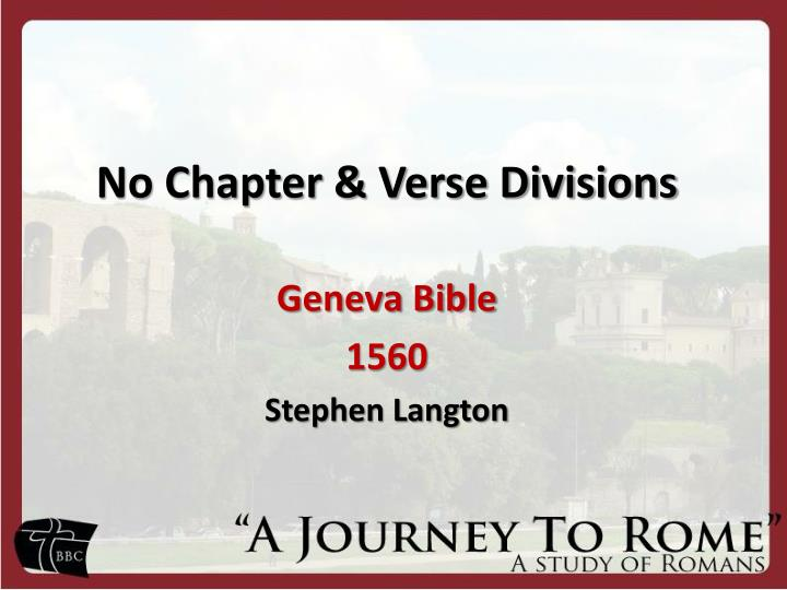 No chapter verse divisions