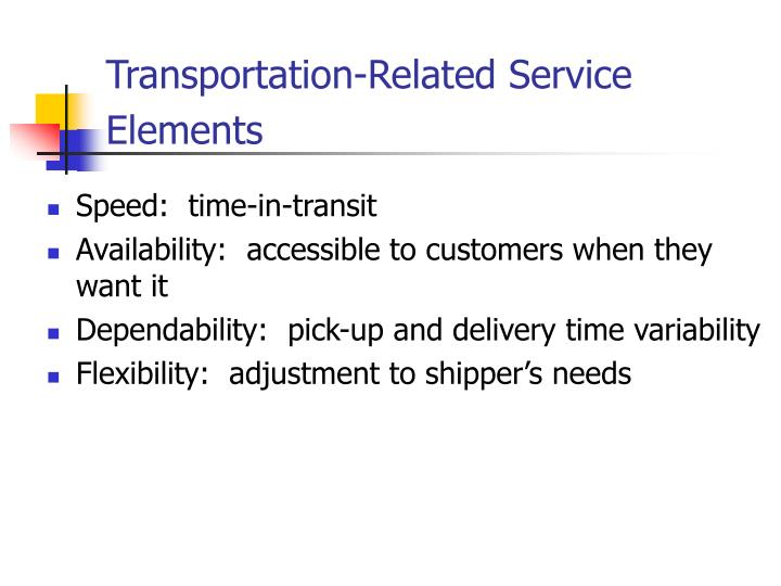 Transportation-Related Service Elements