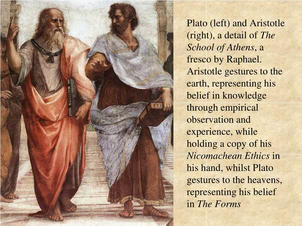 Plato (left) and Aristotle (right), a detail of