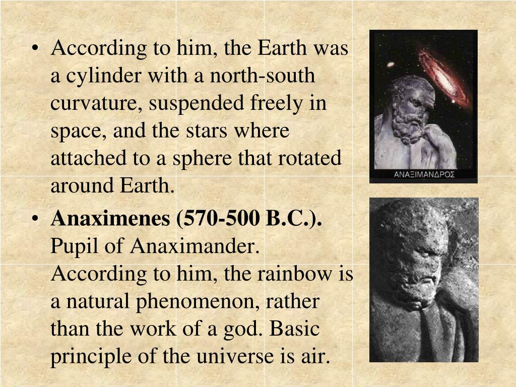 According to him, the Earth was a cylinder with a north-south curvature, suspended freely in space, and the stars where attached to a sphere that rotated around Earth.