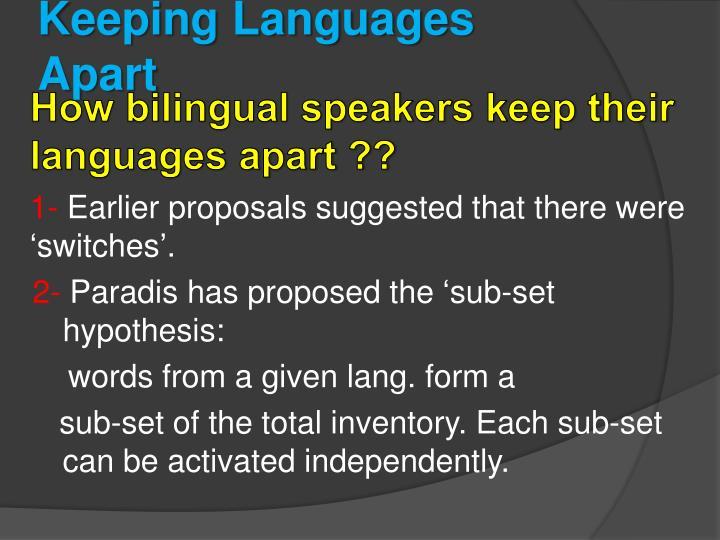 Keeping Languages Apart