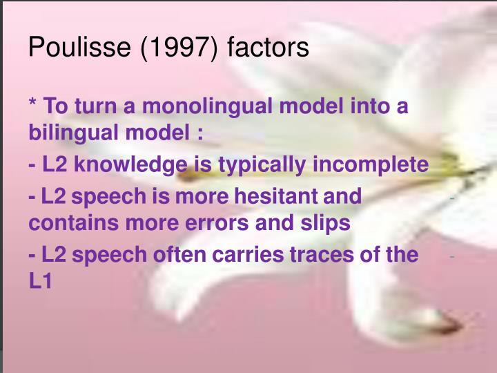 Poulisse (1997) factors