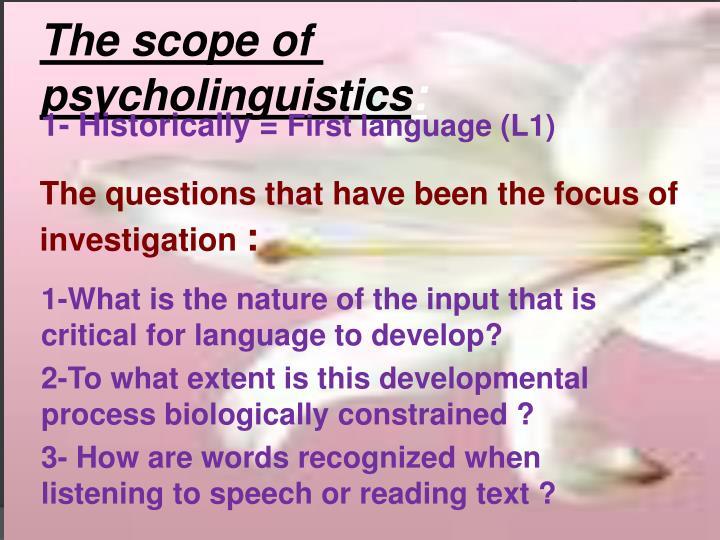 The scope of psycholinguistics
