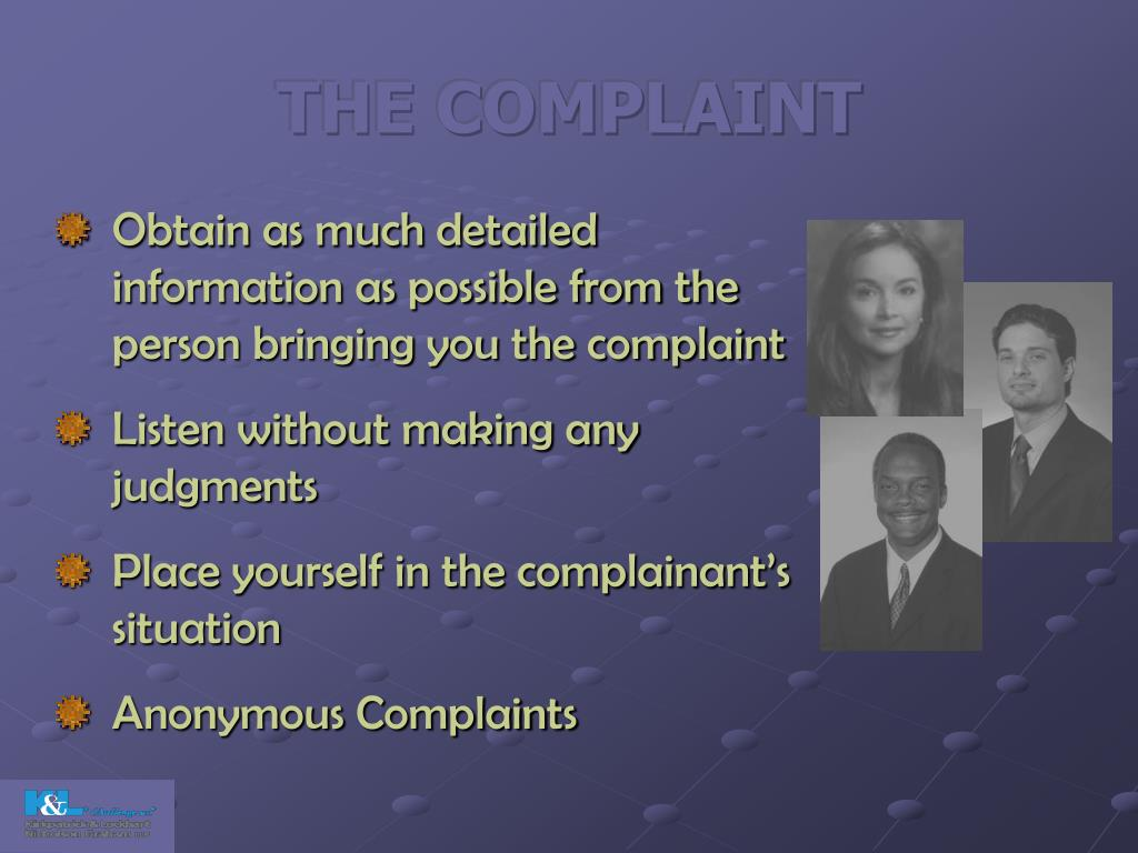 THE COMPLAINT