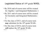 legislated status of 10 th grade wasl