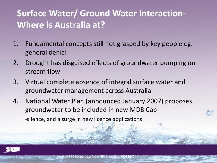 Surface Water/ Ground Water Interaction-Where is Australia at?