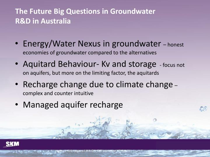 The Future Big Questions in Groundwater