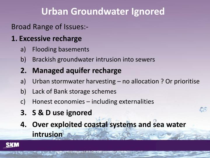 Urban Groundwater Ignored